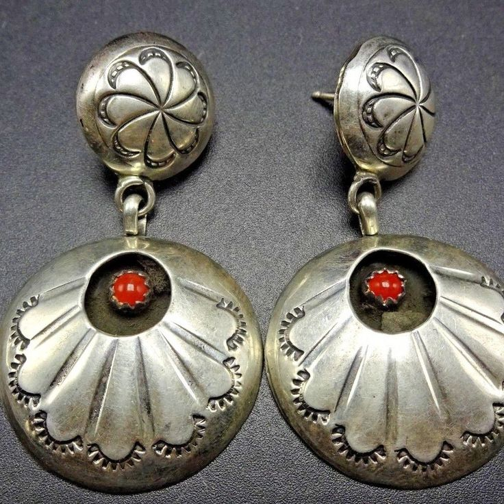 Signed Vintage NAVAJO Hand Stamped Sterling Silver Shadowbox & CORAL EARRINGS