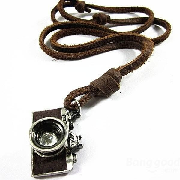 Vintage Handmade Alloy Camera Leather Necklace