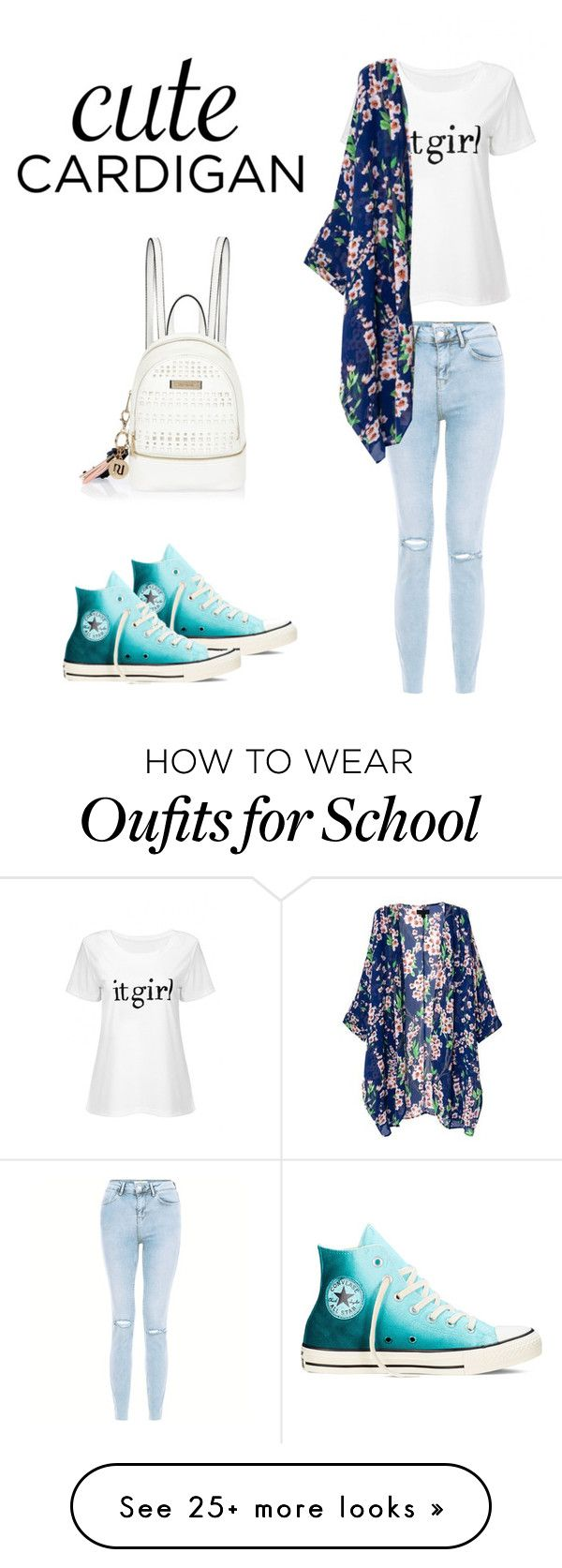 """""""School is not over yet """" by biafangirl on Polyvore featuring New Look, Converse, River Island, cutecardigan and springlayers"""