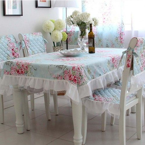 shabby chic tablecloth. Love seeing this all together. Wish I could sew