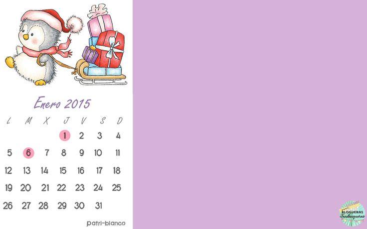 calendario de Enero 2015 Feliz año // http://patriblanco-patricia.blogspot.com.es/2014/12/calendario-enero.html