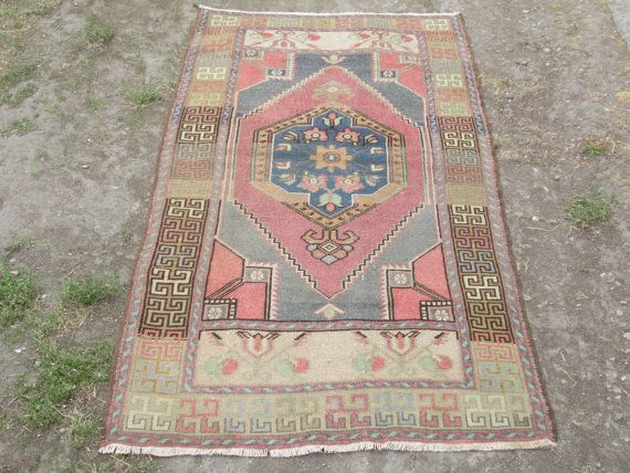 Vintage Oushak Rug Turkish Handwoven Muted Color Rug F6.2 X 3.2 Feet Pale  Peerless Colors