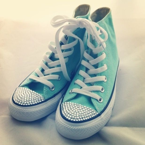 Studded Teal Converse Shoes Pinterest Teal