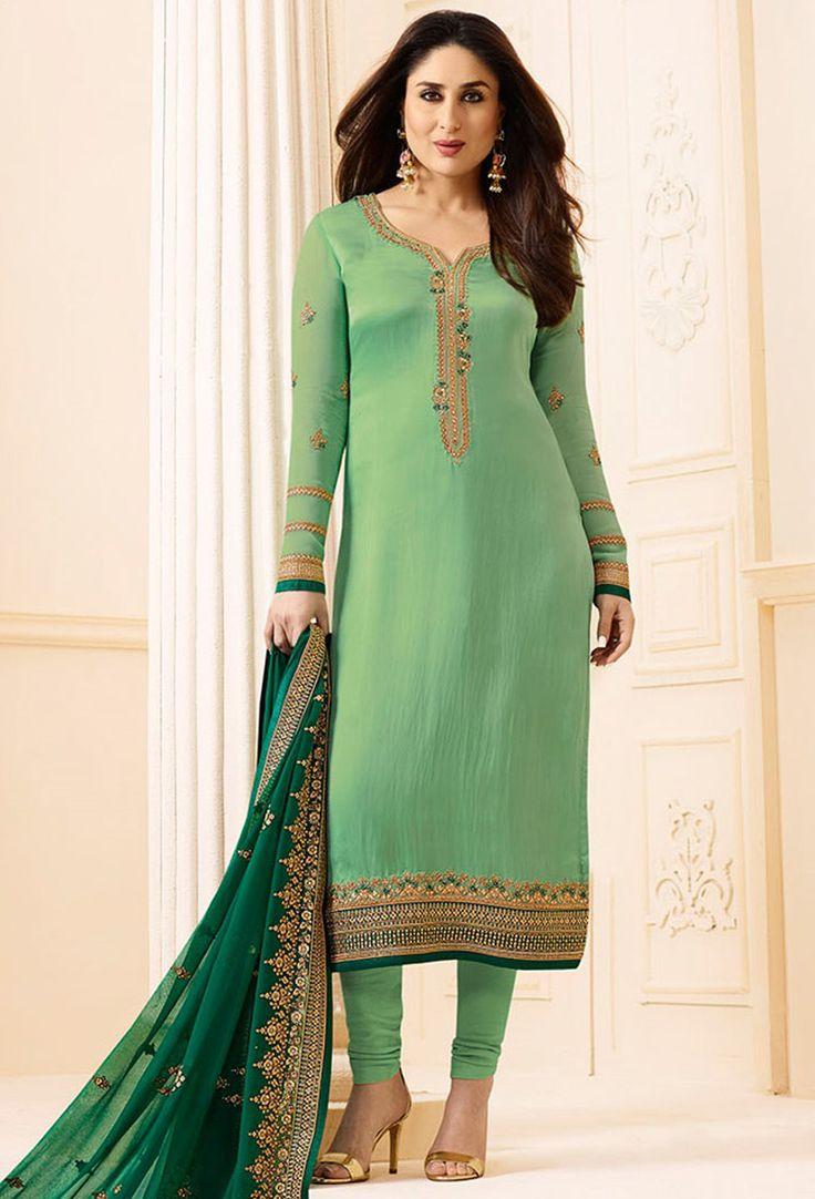 Kareena Kapoor In Designer Light Green Straight Salwar ...