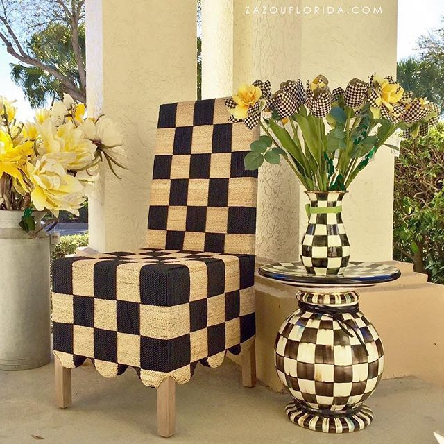 Love the fresh new look of the Checked Grange Side chair.  Beautiful Southwest Florida Weather and Courtly Checks will make anyone happy! #mackenziechilds #zazou #naplesflorida #naplesflowers #naplesinteriordesign