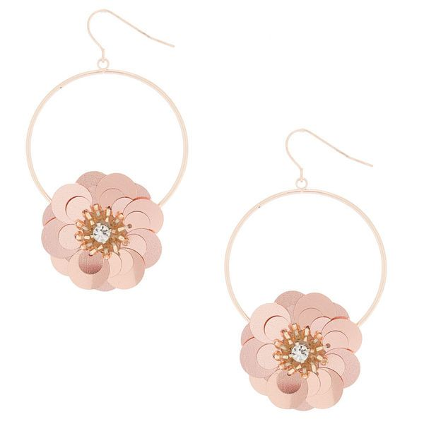 Rose Gold 2 5 Sequin Flower Drop Earrings Rose Gold Rose Gold Earrings Rose Gold Drop Earrings
