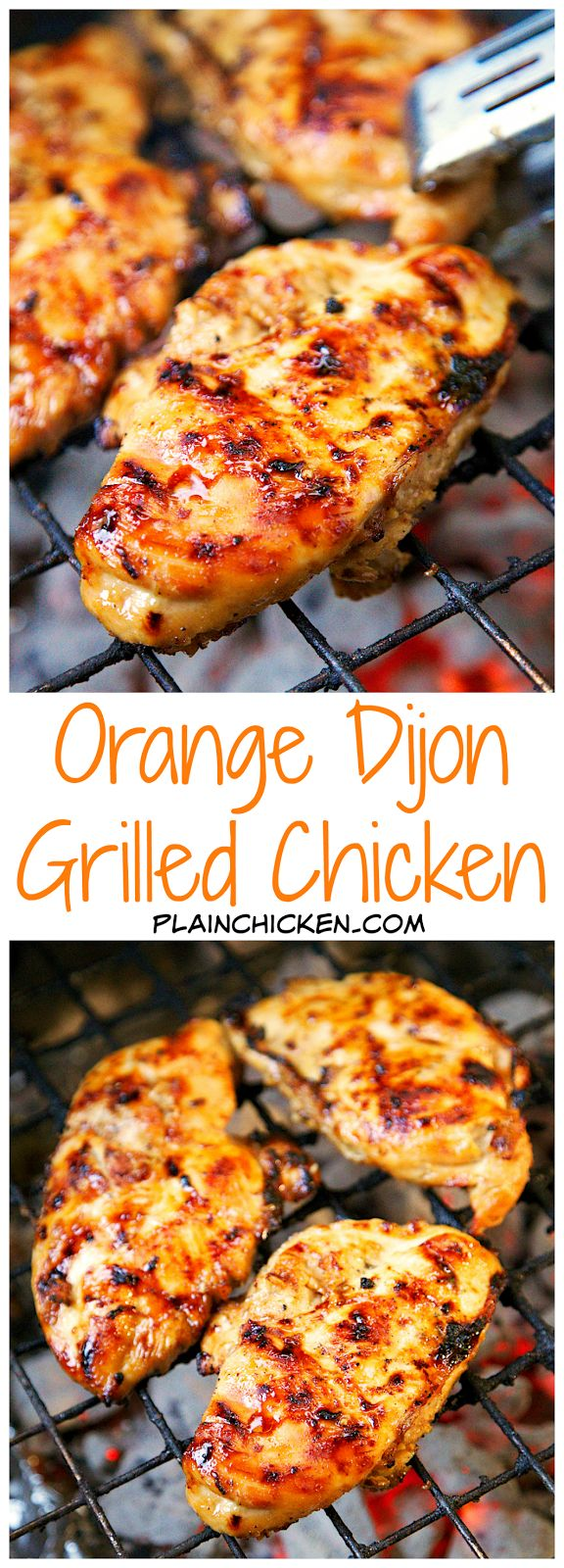 Orange Dijon Grilled Chicken Recipe: Chicken marinated in fresh orange juice, brown sugar, dijon mustard, garlic and apple cider vinegar - fantastic flavor combination! So versatile! Great on its own or in quesadillas, tacos, or on top of a salad.