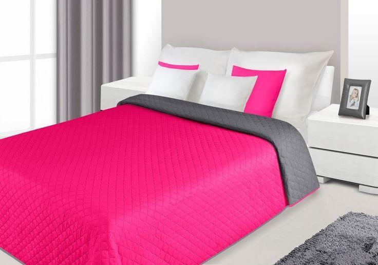 Dwustronne modne narzuty na łóżko do sypialni amarantowo szare