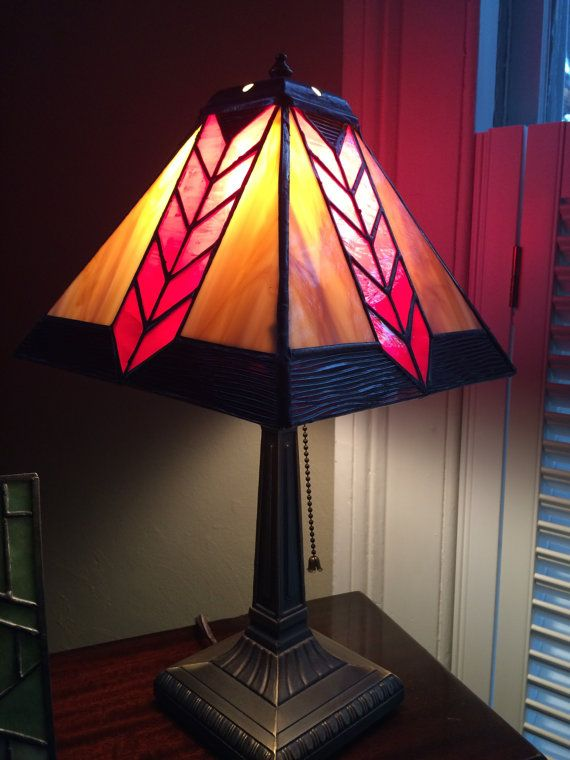 389 best lights and lamps images on pinterest tiffany lamps lamp 4 panel stained glass lamp shade aloadofball Images