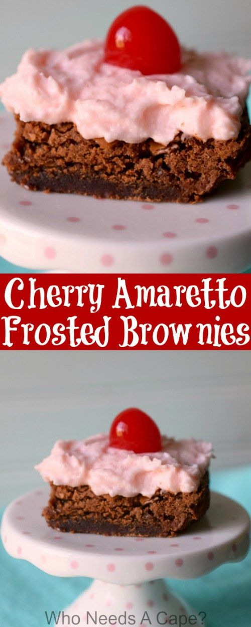 Brownies infused with Amaretto liqueur and topped with Cherry Amaretto Frosting are a decadent adult treat that will knock your socks off. They are amazing! #brownies #amaretto #baking #dessert #chocolate #cherry #frosting #valentinesday