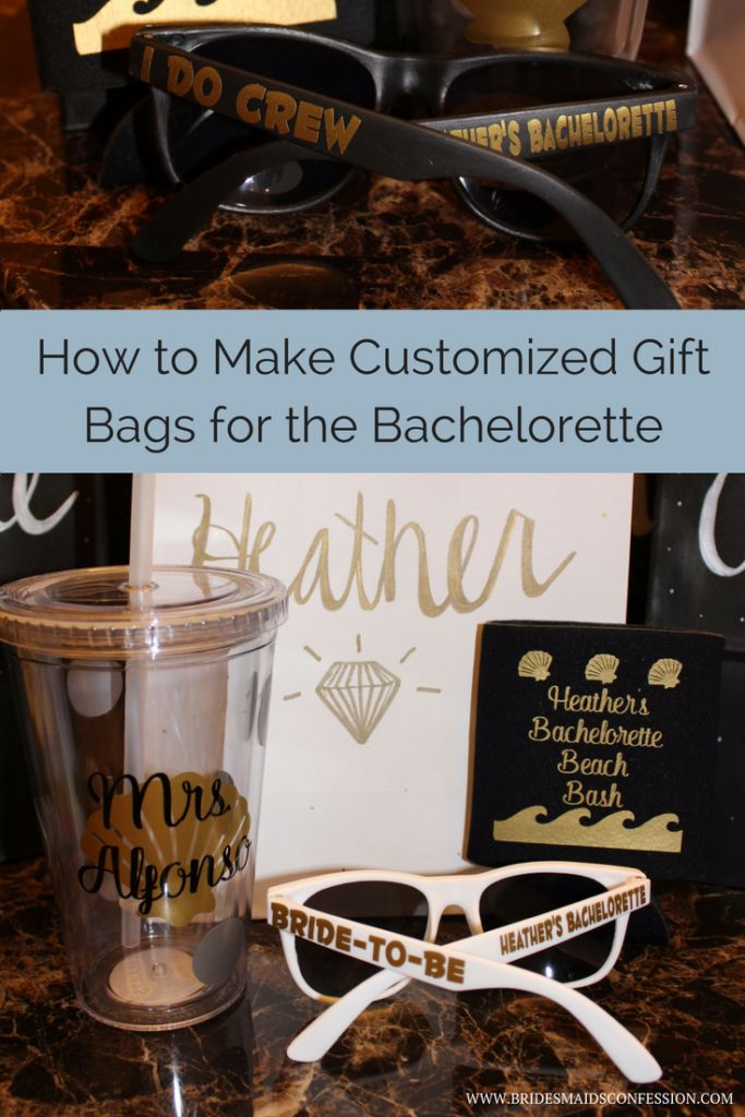 Customized gift bags at a bachelorette party. Sunglasses, koozies, and cups. I do Crew. Bachelorette Beach Bash.