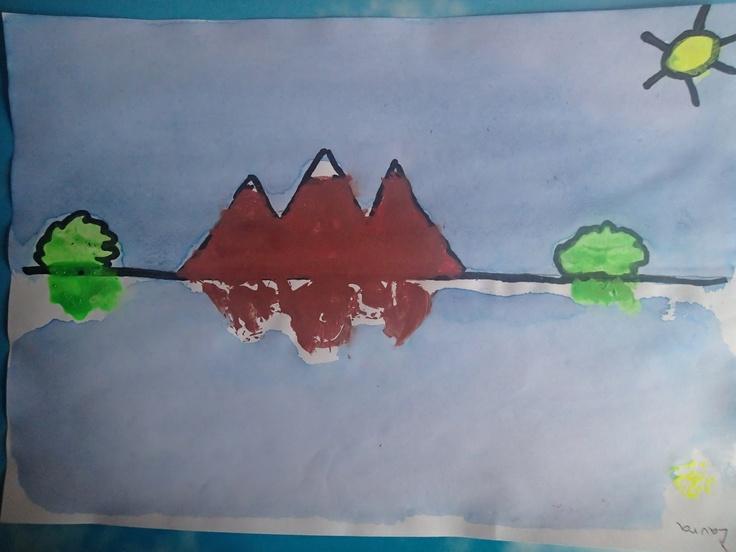 Reflejos en el agua. Simetría. 2º de Primaria.Palabras y dibujos