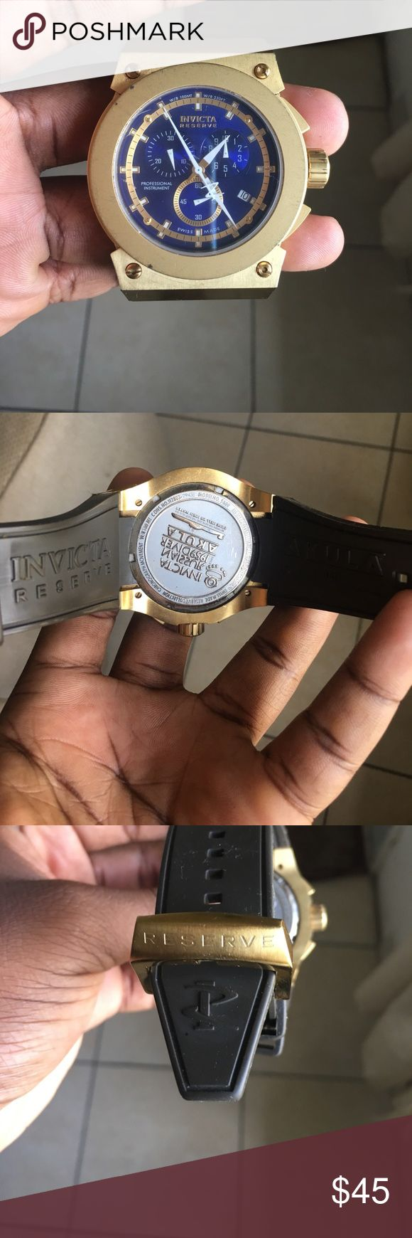 INVICTA RESERVE WATCH PROFESSIONAL INSTRUMENT Like new INVICTA watch only worn twice, blue interface, Swiss made flame-fusion crystal W/R 100 MT Invicta Accessories Watches