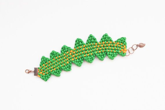 Woven bracelet kumihimo bracelet orange green by elfinadesign