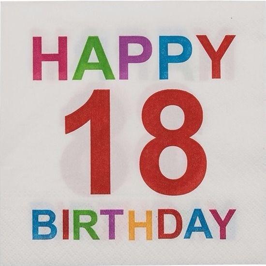 Pakje met 20 witte papieren servetten met opdruk: Happy 18 Birthday. De 3-laags servetten zijn gemaakt van 100% FSC gecertificeerd papier. Formaat uitgevouwen servet: 33 x 33 cm.