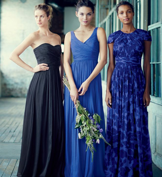 Shades of blue bridesmaid dresses....not so much these styles...lol but I like the bold shadez