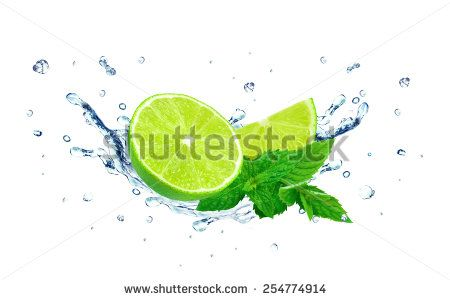 lime and water splash - stock photo