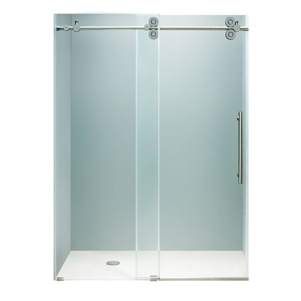 """something like this might work.  review said it shattered after 3 mos use w/ water on: scary.  VIGO 72-inch Frameless Shower Door 3/8"""" Sliding Shower Door - Overstock™ Shopping - Big Discounts on Vigo Shower Doors"""