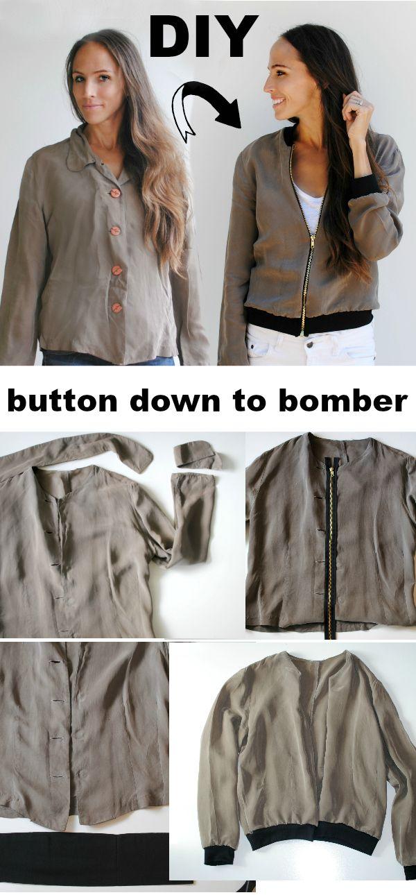 DIY button down to bomber jacket refashion