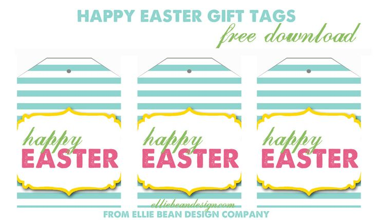 Easter basket tags crafthubs happy easter gift tags free download from ellie bean negle Choice Image