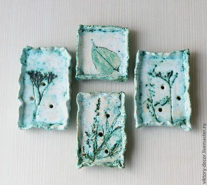 Ceramic soap dishes / Ванная комната ручной работы. Мыльница керамическая с листиком. Viktory-decor (ceramics). Ярмарка Мастеров. Мятный, керамика ручной работы