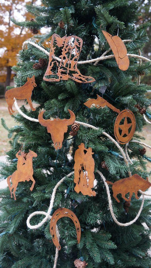 Set of 10 Western Ornaments by AtTheEndOfTheRoad on Etsy