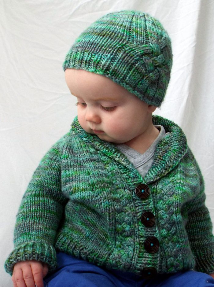 e58480bd5383f4 Free Knitting Pattern for Méabh s Cardigan and Hat - Baby and toddler sized  sweater features a shawl collar and braided cables down the front and a ...