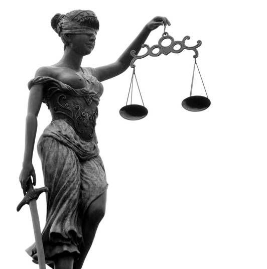 Têmis — É uma divindade grega onde a justiça é definida, no sentido moral, como o sentimento da verdade da equidade e da humanidade, colocado acima das paixões humanas. É representada de olhos vendados e com uma balança na mão. Sua representação vendada, ou cega, demonstra sua imparcialidade