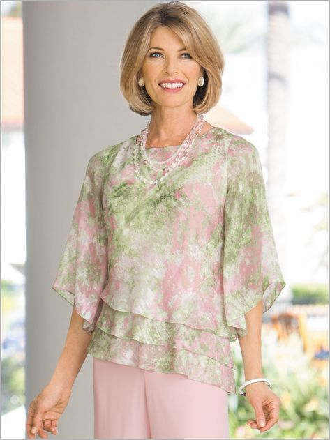Floral Triple Tier Top by Alex Evenings | Drapers & Damons