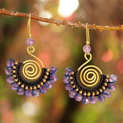 24K Gold Plated Brass and Amethyst Dangle Earrings - Lilac Kiss | NOVICA