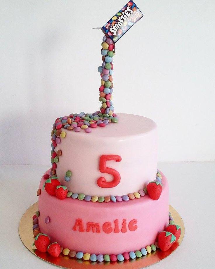 Smarties Gravity Cake Fondant Chocolate Pink Birthday Cake