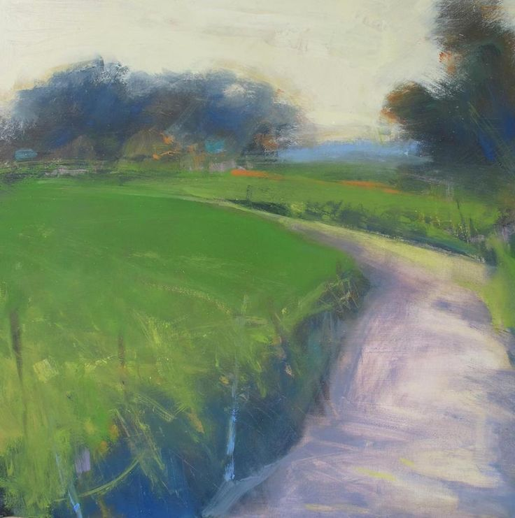Late Sun, Long Shadows, Country Lane. Oil on board, 45 x 45 cm. Hannah Woodman