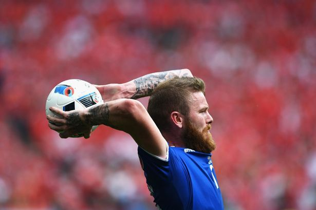 Aron Gunnarsson is struck fear into the hearts of opposing teams with his long throws for Iceland at Euro 2016