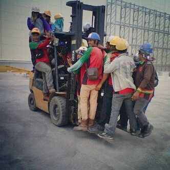 Being reckless is easier in groups #forklift #safetyfail