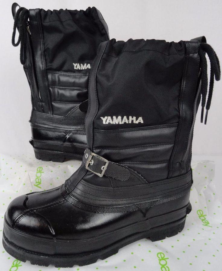 Vintage 1980s YAMAHA Mens 8 Snowmobile Boots Steel Shank Zip Up Felt Lining Mint #Yamaha #SnowWinter