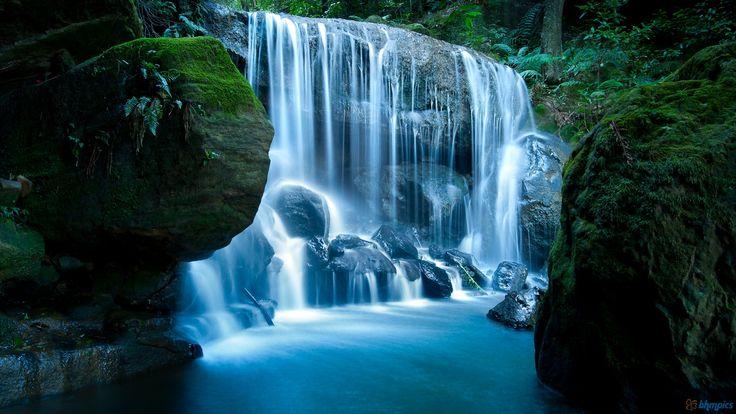 Blue Mountains Waterfall Nsw Australia Hd Wide Wallpaper