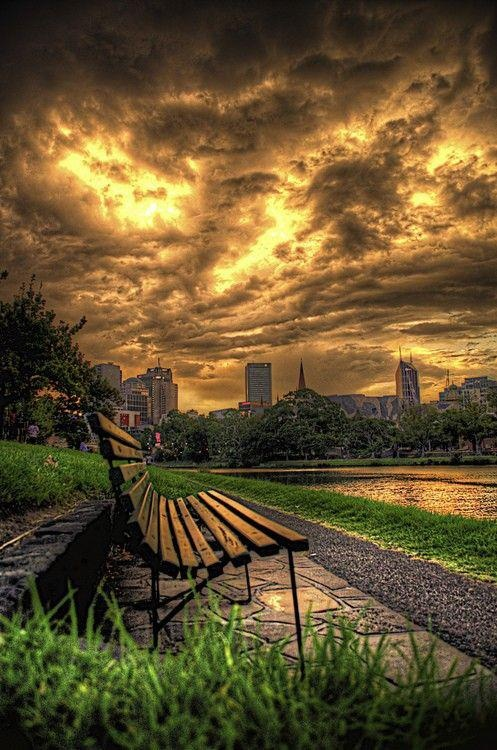 Bench on a cloudy day