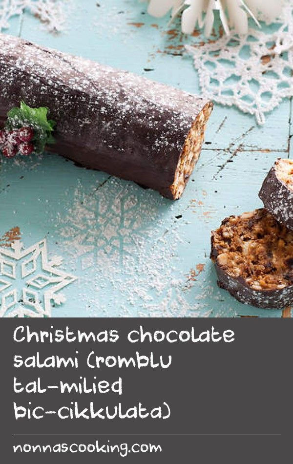 Christmas chocolate salami (romblu tal-milied bic-cikkulata)   With no added sugar, this Maltese chocolate salami uses dates, apricots and nuts for natural sweetness and crunch. With a generous hit of whisky, this is definitely a dessert for adults.
