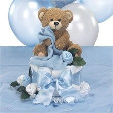 Teddy Bear Baby Shower Centerpiece  -  Diaper Cake with Table Decorations  Package $44.00