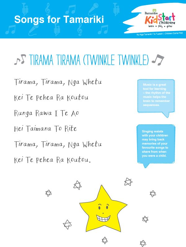 "Another great sing-along song, this is the Maori language version of that classic ""Twinkle, Twinkle, Little Star."" If you want to know more about what we do at KidStart, call us today on 0800 KIDSTART. With Centre or Home-based options you can make the right decision for your family. KidStart, where children learn, play and grow!"