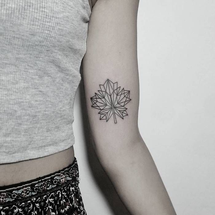 Geometric Maple Leaf Tattoo by denizhanozkr
