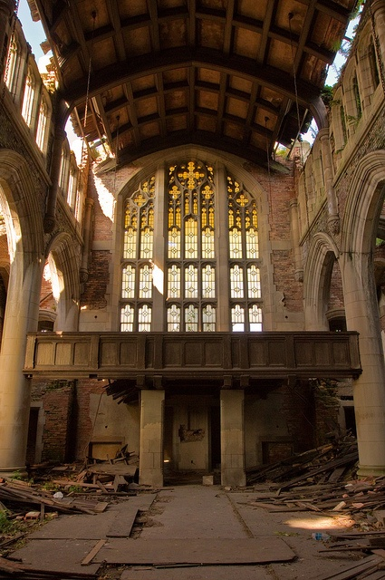 It's surprisingly amazing to me how the stained glass of this church in Gary, Indiana can remain relatively intact while the rest crumbles.  One final message from this once beautiful church to remain steadfast in Christ while the world crumbles around you.  Amen!