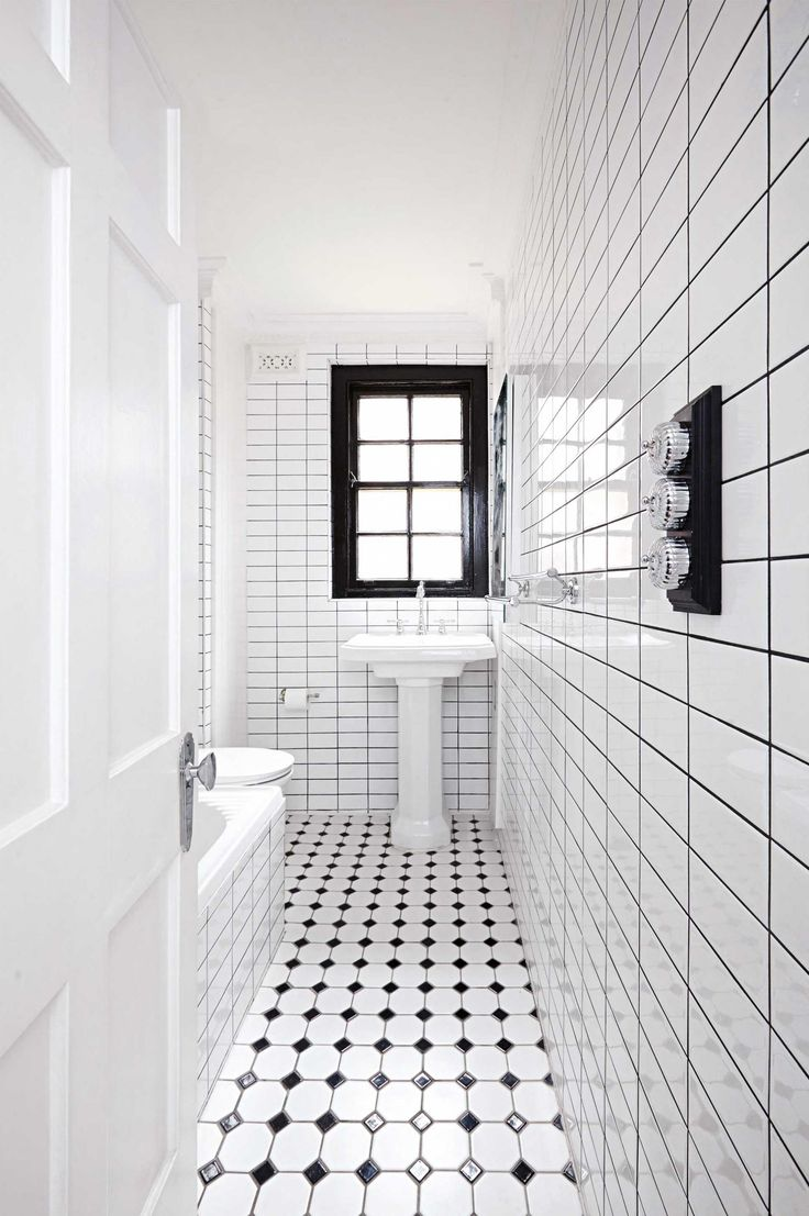 98 best black and white bathrooms images on pinterest for Black white bathroom ideas