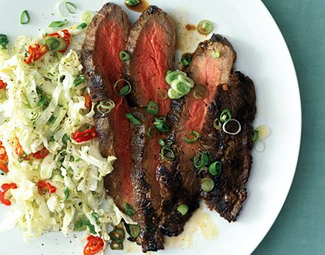 Grilled Asian Flank Steak with Sweet Slaw Recipe from Epicurious.com #myplate #protein #vegetable