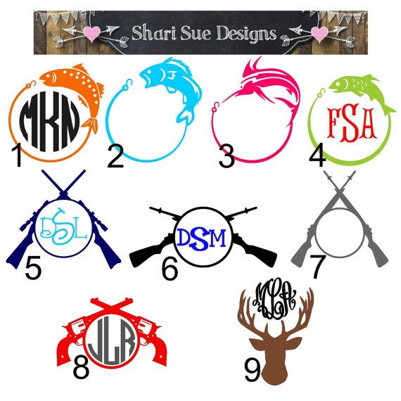 Hunting and Fishing Vinyl Decals by ShariSueDesigns on Etsy