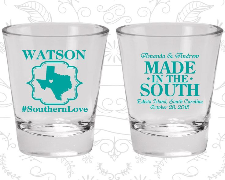 Southern Love, Made in the South, Wedding Favor Glass, Country Wedding Shot Glasses, Rustic Shot Glasses, Wedding Shot Glass (599)