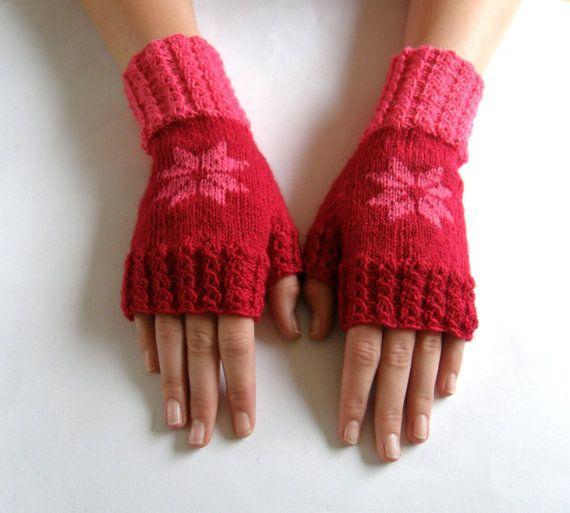 Vingerloze wanten  handschoenen Rood/Roze met door Carolinevantveer