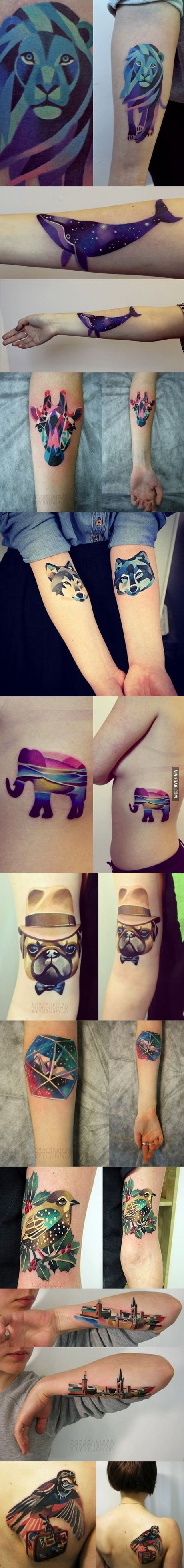 I love the saturation and the shapes of this group of tattoos, they are really bright and you can tell what shape/ animal they form without taking away what scene makes up the figure