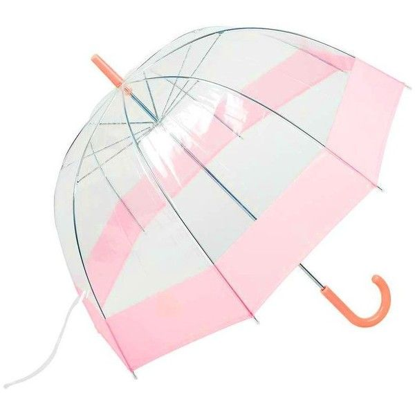 "All-Weather 42"" Clear Dome Bubble Umbrella (Pink/Clear) ($11) ❤ liked on Polyvore featuring accessories, umbrellas, pink umbrella, bubble umbrella, clear bubble umbrella, travel umbrella and dome shaped umbrella"