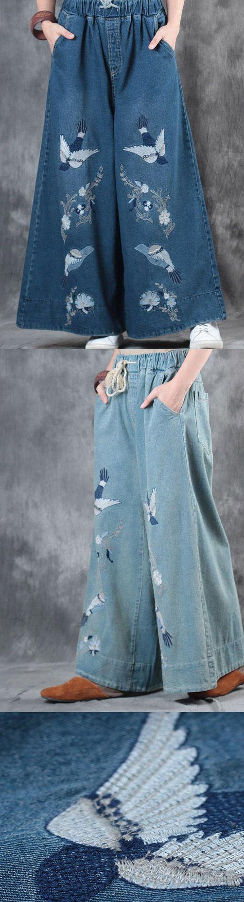 2017 denim darl blue embroidery pants plus size elastic waist vintage wide leg pants